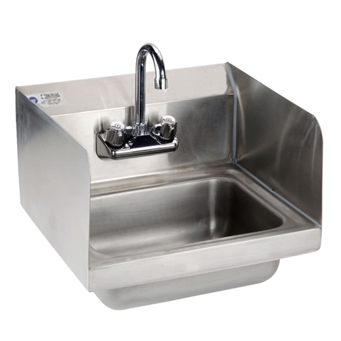 Hand Sink with Side Guard Splashes and Gooseneck Faucet 15-Inch Wide (Royal Industries ROY HS 15 SP)