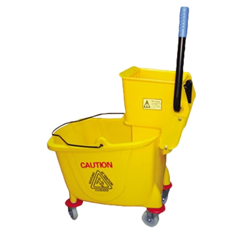 35 Qt Capacity Yellow Mop Bucket with Wringer Combination (Royal Industries ROY MBKY 9)