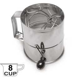 Royal Industries Rotary Flour Sifter - Stainless Steel, 8 Cup (ROY RFS)