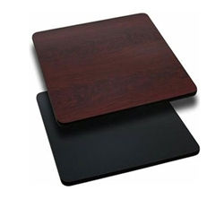 "Royal Industries Mahogany Woodgrain/Black Reversible Table Top - 30"" X 30"", (ROY RTT BM 3030 T)"