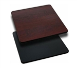 "Royal Industries Mahogany Woodgrain/Black Reversible Table Top - 36"" X 36"", (ROY RTT BM 3636T)"