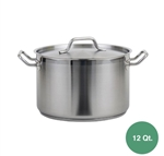 Royal Stainless Steel Induction Stock Pot with Lid - 12 Qt.