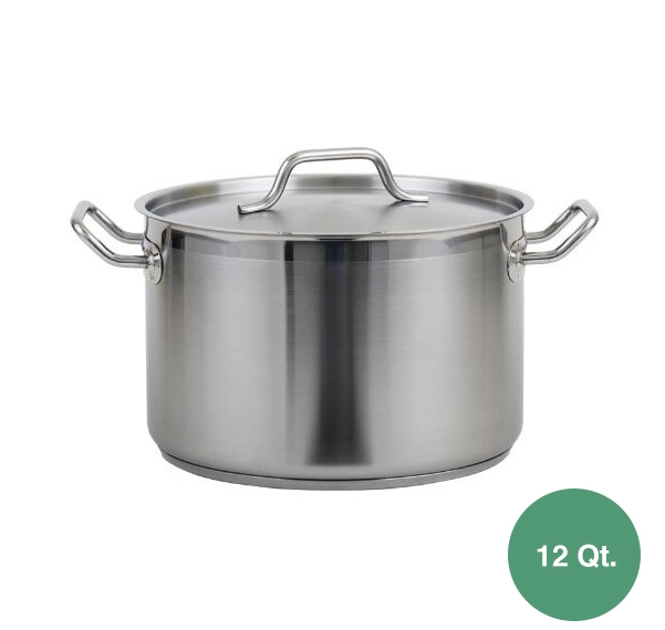 Royal Stainless Steel Induction Stock Pot With Lid 12 Qt