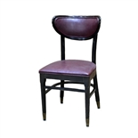 USED - Chair- Wood Frame - Upholstered Vinyl Padded Dark Red Seat and Padded Vinyl Back