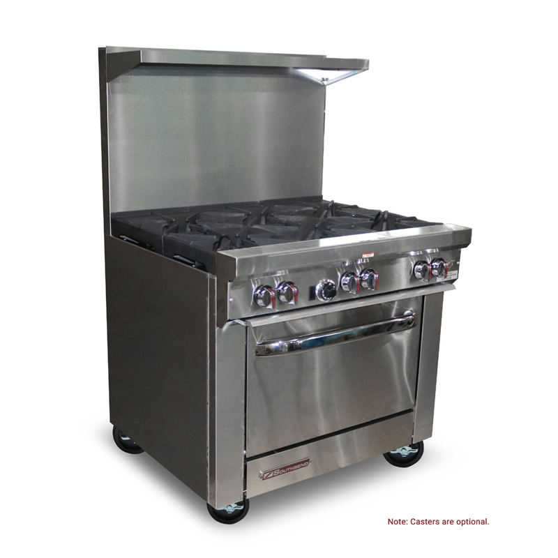 36 Inch Wide Natural Gas 6 Burner Commercial Restaurant Range With Standard Oven Southbend S36d