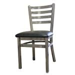 Oak Street Metal Chair with Ladder Back and Black Vinyl Seat, (SL135C) - Set of 2 Chairs