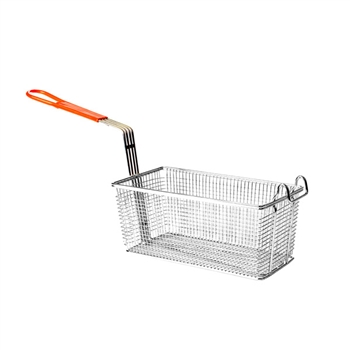 "Fry Basket - 12-1/8"" x 6-1/2"" x 5-3/8"" with Orange Handle (Thunder Group SLFB008)"