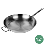 "12"" Stainless Steel Fry Pan with Mirror Finish and Hollow Handle (Thunder Group SLSFP012)"