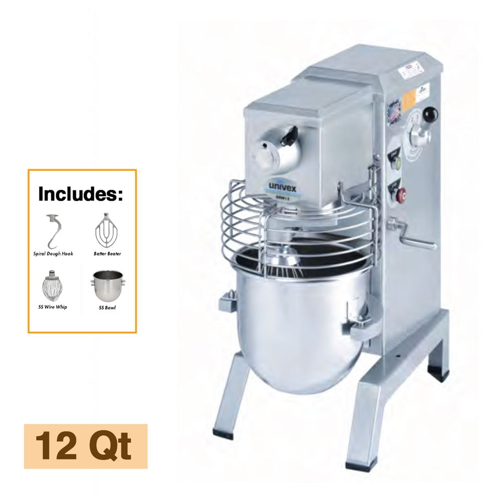 Univex 12 Quart Countertop 4 Speed Planetary Mixer Srm12 Gator Chef Dough Wiring Diagram With Attachment Accessories