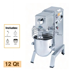 Univex 12-Quart Countertop 4-Speed Planetary Mixer with Attachment Accessories, (SRM12+)