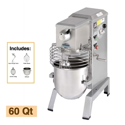 Univex 60-Quart Floor Model Mixer with Attachment Accessories, (SRM60+)