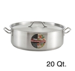 Winco SSLB-20 Stainless Steel Brazier - 20 Qt.