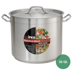 Winco SST-32 Stainless Steel Stock Pot Set - 32 Qt.