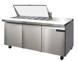 Continental 72-Inch (3) Door Mighty Top Sandwich Prep Table, With (18) 1/6 Size Pans, (SW72-18M)