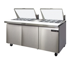 Continental 72-Inch (3) Door Mighty Top Sandwich Prep Table, With (27) 1/6 Size Pans, (SW72-27M)