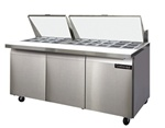 Continental 72-Inch (3) Door Mighty Top Sandwich Prep Table, With (30) 1/6 Size Pans, (SW72-30M)