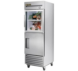 True 27-Inch Single Section Half Solid Door Half Glass Door Reach-In Refrigerator, (T-23-1-G-1)