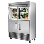 True 54-Inch Reach-In Commercial Combination Refrigerator with (4) Half-Swing Doors and Bottom Mount Compressor, (T-49-2-G-2)