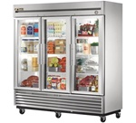 True 78-Inch (3) Glass Door 72 Cu.Ft. Bottom Mounted Reach-In Refrigerator, (T-72G-LD)
