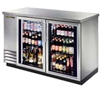 "True TBB-2G-S-LD 59"" 2 Glass Doors Stainless Steel Back Bar Cooler"