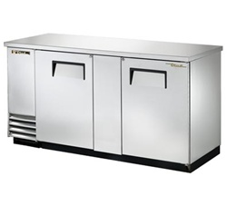 "True TBB-3-S 69"" 2-Door Stainless Steel Back Bar Cooler"
