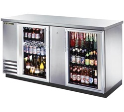 "True TBB-3G-S-LD 69"" 2 Glass Doors Stainless Steel Back Bar Cooler"