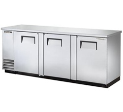 "True TBB-4-S 90"" 3 Doors Stainless Steel Back Bar Cooler"