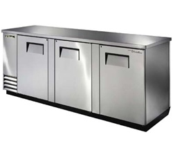 "True TBB-4PT-S 90"" 3 Doors Stainless Steel Back Bar Cooler"