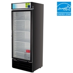 Turbo Air 22 Cu.Ft. Refrigerated Retail Glass Door Merchandiser with (4) Adjustable Shelves and Black Finish, (TGM-22RVB)