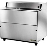 True 49-inch Stainless Steel One Sided Milk Cooler, (TMC-49-S-HC)