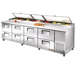 True 119-Inch 43.9 Cu.Ft. (8) Drawer Pizza Prep Table, With (15) 1/3 Size Pans, (TPP-119D-8)