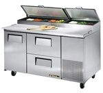 True 60-Inch 15.9 Cu.Ft. (1) Door (2) Drawer Pizza Prep Table, With (8) 1/3 Pans, (TPP-60D-2)