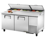 True 67-Inch 20.6 Cu.Ft. (2) Door Pizza Prep Table, With (9) 1/3 Pans, (TPP-67)