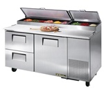 True 67-Inch 20.6 Cu.Ft. (1) Door (2) Drawer Pizza Prep Table, With (9) 1/3 Pans, (TPP-67D-2)