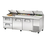 True 93-Inch 30.9 Cu.Ft. (2) Door (2) Drawer Pizza Prep Table, With (12) 1/3 Pans, (TPP-93D-2)