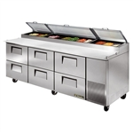 True 93-Inch 30.9 Cu.Ft. (6) Drawer Pizza Prep Table, With (12) 1/3 Pans, (TPP-93D-6)
