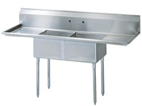 "Turbo Air TSA-2-D1 72"" 2-Compartment Sink with Drainboards"