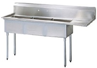 Green World 3-Compartment Sink Rightside Drainboard - TSA-3-12-R1