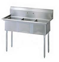 Green World 3-Compartment Sink No-Drainboards - TSA-3-14-N