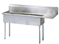 Green World 3-Compartment Sink Rightside Drainboard - TSA-3-R1