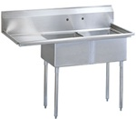 Green World 2-Compartment Sink Leftside-Drainboard - TSB-2-L2