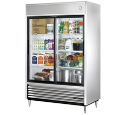 "True TSD-47G-LD 54"" (2) Glass Sliding Door Reach-In Refrigerator"
