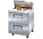 True 27-Inch 6.5 Cu.Ft. (2) Drawer Sandwich / Salad Prep Table, With (8) 1/6 Pans, (TSSU-27-08D-2-HC)