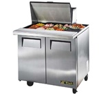True 36-Inch 8.5 Cu.Ft. (2) Door Sandwich / Salad Prep Table, With (12) 1/6 Pans, (TSSU-36-12M-B)