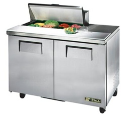 True 48-Inch 12 Cu.Ft. (2) Door Sandwich / Salad Prep Table, With (8) 1/6 Pans, (TSSU-48-08-HC)