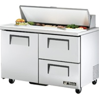True 48-Inch 12 Cu.Ft. (1) Door (2) Drawer Sandwich / Salad Prep Table, With (12) 1/6 Pans, (TSSU-48-12D-2-HC)