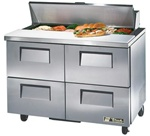 True 48-Inch 12 Cu.Ft. (4) Drawer Sandwich / Salad Prep Table, With (12) 1/6 Pans, (TSSU-48-12D-4-HC)