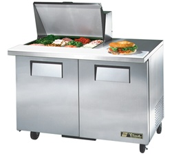 True 48-Inch 12 Cu.Ft. (2) Door Sandwich / Salad Prep Table, With (12) 1/6 Pans, (TSSU-48-12M-B)