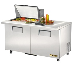 True 60-Inch 15.5 Cu.Ft. (2) Door Sandwich / Salad Prep Table, With (12) 1/6 Pans, (TSSU-60-12M-B)