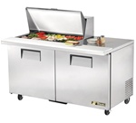 True 60-Inch 15.5 Cu.Ft. (2) Door Sandwich / Salad Prep Table, With (15) 1/6 Pans, (TSSU-60-15M-B)